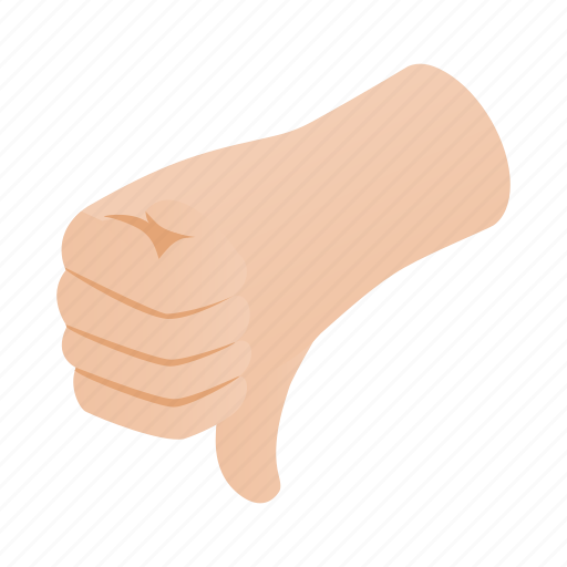 down, finger, gesture, hand, isometric, rejection, thumb icon