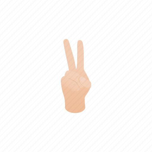 concept, finger, gesture, hand, isometric, number, two icon