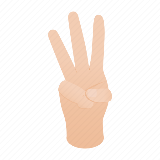 concept, finger, four, gesture, hand, isometric, number icon