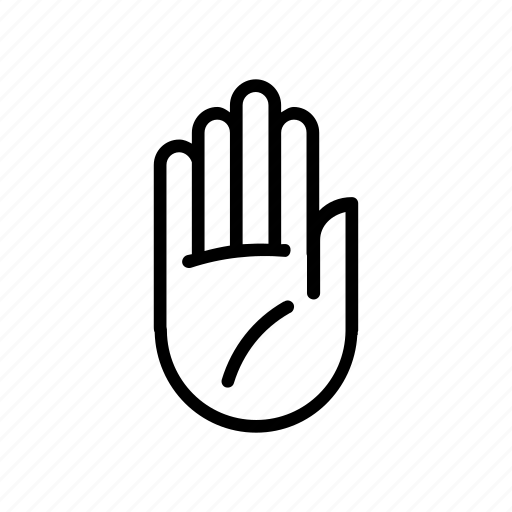 finger, fingers, gesture, hand, palm, right, stop icon