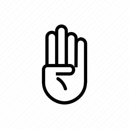 fingers, four, gesture, hand, movement icon