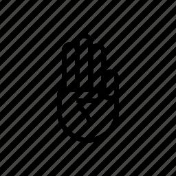 fingers, gesture, hand, three icon