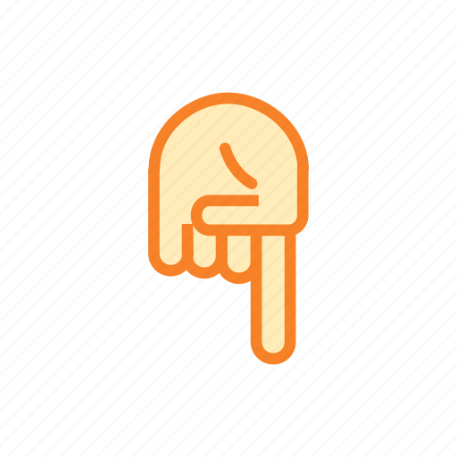 down, finger, fingers, hand, pointing icon
