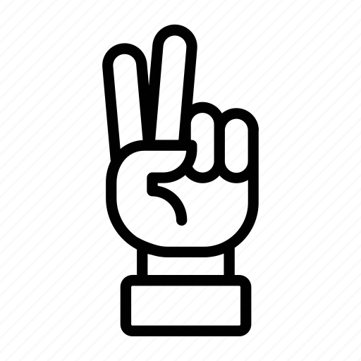 gesture, hand, number two, peace, peace out, two fingers, victory icon