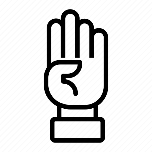 counting, four, four fingers, hand, sign language icon