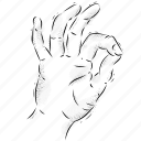 hand, indicate, line, nstructions, pos, retro, vintage icon