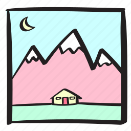 cabin, day, holiday, log, mountains, snow, summer icon
