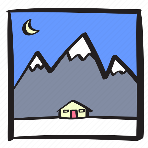 cabin, log, mountains, night, snow, vacation, winter icon