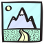 blue, drive, holiday, mountain, nature, road, roadtrip icon