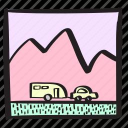 caravan, holiday, mountain, nature, roadtrip, trailer icon