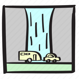 drive, holiday, roadtrip, summer, vacation, waterfall icon