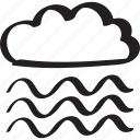 cloud, fog, foggy, mist, misty, wind, windy icon