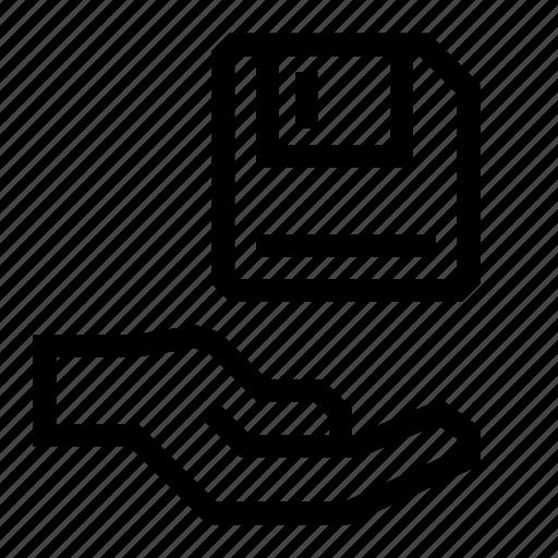Disk, floppy, hand, save icon - Download on Iconfinder