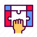 fingers, hand, holding, puzzle, teamwork