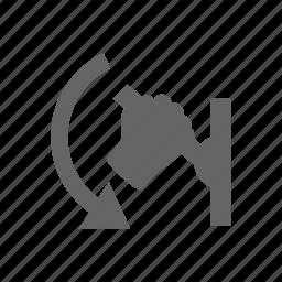 hand, human, manipulate, move, shift, switch, turn icon
