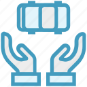 automobile, car, care, giving, hands support, safe, support icon