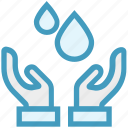 care, droplet, giving, hands support, safe, support, water drops icon