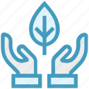 care, ecology, giving, hands support, leaf, safe, support icon