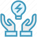 bulb light, care, energy, giving, hands support, safe, support icon