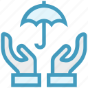 care, giving, hands support, insurance, safe, support, umbrella icon