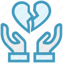 broken heart, care, giving, hands support, heartbeat, safe, support icon