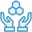 bees, care, giving, hands support, honeycomb, safe, support icon