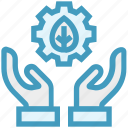 care, ecology, gear, giving, hands support, safe, support icon