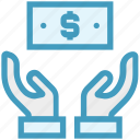 care, dollar note, giving, hands support, money, safe, support icon