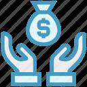 care, dollar bag, giving, hands support, money bag, safe, support icon