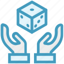 care, dice, gambling, giving, hands support, safe, support icon