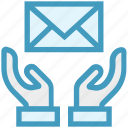 care, envelope, giving, hands support, letter, safe, support icon