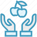 apples, care, fruit, giving, hands support, safe, support icon