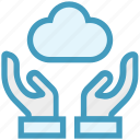 care, cloud, database, giving, hands support, safe, support icon