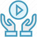 care, giving, hands support, media play, safe, support, video play icon