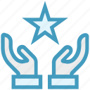 care, favorite, giving, hands support, safe, star, support icon