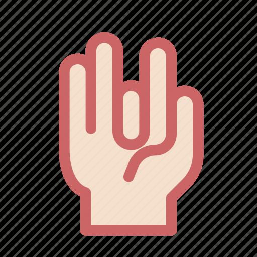 finger, four, gesture, hand, rock, rocker icon