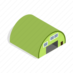 architecture, construction, door, exterior, garage, hangar, isometric icon