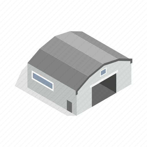 architecture, construction, door, exterior, garage, hangar, isometric icon