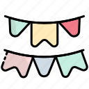 bunting, decoration, celebration, party, flags, flag, garlands
