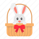 basket, bunny, card, easter, greeting, holiday, rabbit icon
