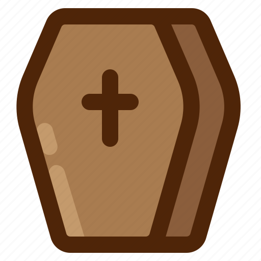 casket, coffin, cross, death, funeral, halloween, monster icon