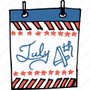 america, american, calendar, date, independence day, july 4th, united states icon