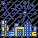 firework, city, building, celebration, festival, new, year