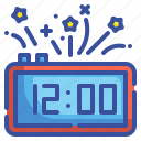 midnight, clock, time, digital, new, year, celebration