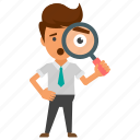 analytical view, businessman curiosity, businessman investigating, businessman with magnifier, inspections icon