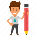 business character, business studies, businessman with pencil, creative businessman, signatory icon