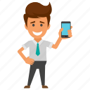 business call, business communication, businessman with mobile, mobile developer, smartphone icon