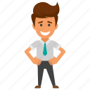 cheerful businessman, contented man, happy businessman, smiling man., successful employer icon