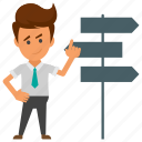 business choice, business decision concept, business directions, business signpost, decision making icon