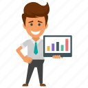 business analytics, business presentation, infographics, statistics, whiteboard graph icon